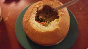 Cheddar broccoli in a bread bowl.